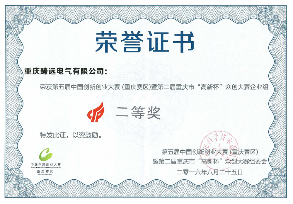 Second Prize of the Fifth China Entrepreneurship Competition